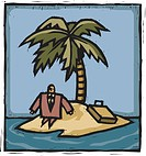 A businessman stranded on an island