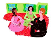 three women doing yoga