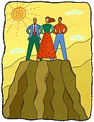 three people on a mountaintop