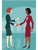 Two businesswomen shaking hands (thumbnail)