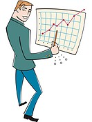 A businessman pointing to a sales graph