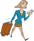 Businesswoman with luggage and airline tickets (thumbnail)