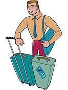 A businessman with a lot of luggages (thumbnail)