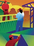 An illustration of workers in a construction zone