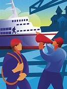 An illustration of two construction workers and in the background is a cruise ship
