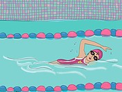 A woman swimming in a swimming pool