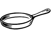 A black and white illustration of a frying pan