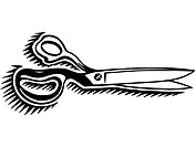 A pair of scissors drawn in black and white