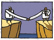 Two doctors shaking hands over a chasm