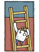 A doctor climbing up a ladder