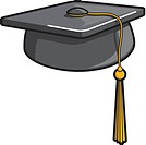 A graphic illustration of a graduation hat