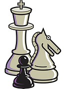 A graphic representation of chess pieces