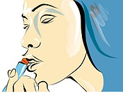 A woman putting on Lipstick (thumbnail)