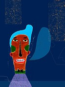 Blue haired man expressing himself (thumbnail)