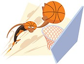 A basketball player scoring a goal