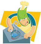 An illustion of a cook frying a fish