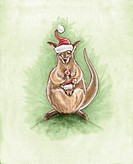 A christmas image of a kangaroo with a joey in its pouch with both roos wearing santa hats