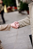 Closeup of businessman and woman shaking hands