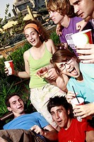 Teenagers hanging out, eating