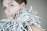 Portrait of a woman wearing a recycled accessories (thumbnail)