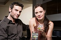 Couple drinking in a bar
