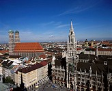 Town Hall and Frauenkirche, Munich. Bavaria, Germany