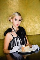 Woman, young, cafe, sitting, cakes, watching, camera, semi-portrait series people 20-30 years, blond, clothing, elegantly, fashion, fringe-dress, stol...