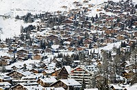 Switzerland, canton Wallis, Verbier, city-overview, winter, Valais, Val de Bagnes, ski-area, winter sports resort, vacation-place, tourist resort, ski...