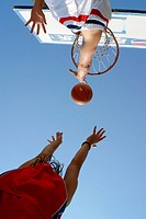 Basketball-players, two, basket-throw, duel, from below,