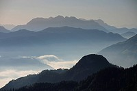 Germany, Upper Bavaria, Chiemgauer Alps, mountain-panorama, evening-mood, fog, Bavaria, Chiemgau, mountain scenery, mountains, Alps, mountain-chain, m...