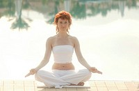 Woman, Yoga, pool-edge