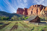 Barn with a mountain in the background, Fruita Barn, Capitol Reef National Park, Utah, USA