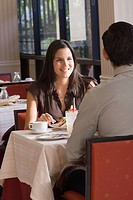 Hispanic couple at restaurant