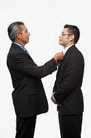 Hispanic businessman adjusting younger businessman's tie