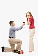 Hispanic man proposing to girlfriend