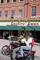 Pennsylvania, Pocono Mountains, Honesdale, Main Street, Country Dawn Antiques and Collectibles, motocycle, couple, man, woman