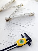 Blueprints, Ruler and Caliper
