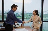 Ethnic-ethnic businesspeople shaking hands