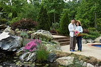 Senior Asian couple in garden