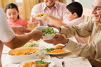 Hispanic family at dinner table (thumbnail)