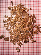 Pile of chocolate cookie letters
