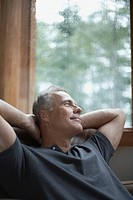 Man relaxing in cabin