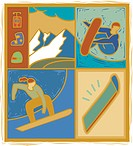 Illustration of people snowboarding