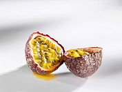 A halved passion fruit
