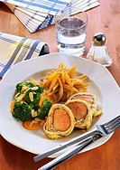 Pork fillet wrapped in pancake with potato noodles & vegetables
