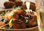 Baked potatoes with watercress