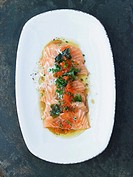 Salmon sashimi with beurre noisette and chives