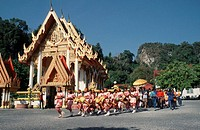 People, at, marriage, ceremony, and, musicianss, at, temple, Wat, Phrachumyothi, Phang, Nga, Thailand