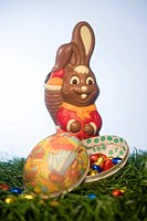 Chocolate hare and chocolate eggs
