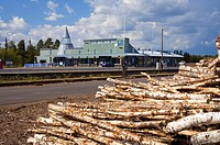 Railway, station, stack, of, wood, Kolari, Lapland, Finland, tree, logs,